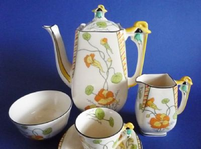Complete Burleigh Ware 'Golden Gleam - Nasturtium' Imperial Coffee Set c1930